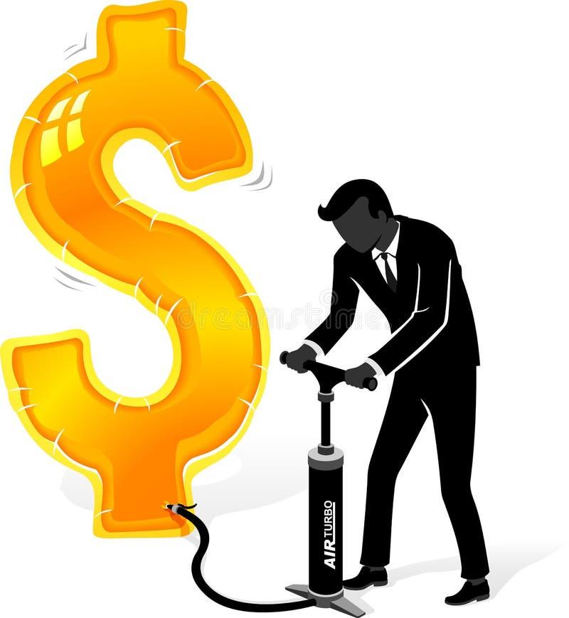 Het opblazen van Amerikaanse dollar royalty-vrije illustratie