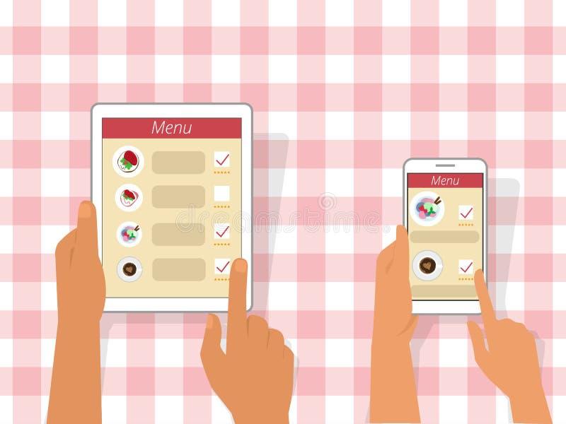 Het opdracht geven van tot voedsel die gadgets gebruiken royalty-vrije illustratie