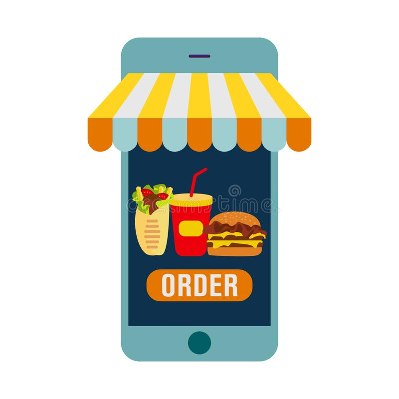 Het opdracht geven van voedsel tot online vector Het selecteren van een product met smartphone, de betaling van geld voor de aank stock illustratie