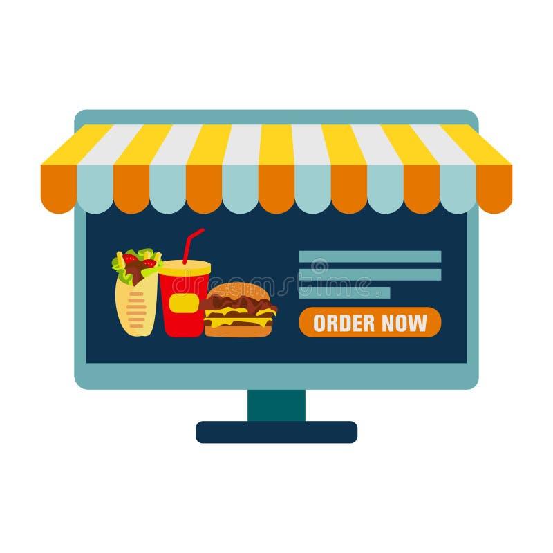 Het opdracht geven van voedsel tot online vector Vlak Pictogram van Computerpc als Showcase van Winkelconcept Online Winkel vector illustratie