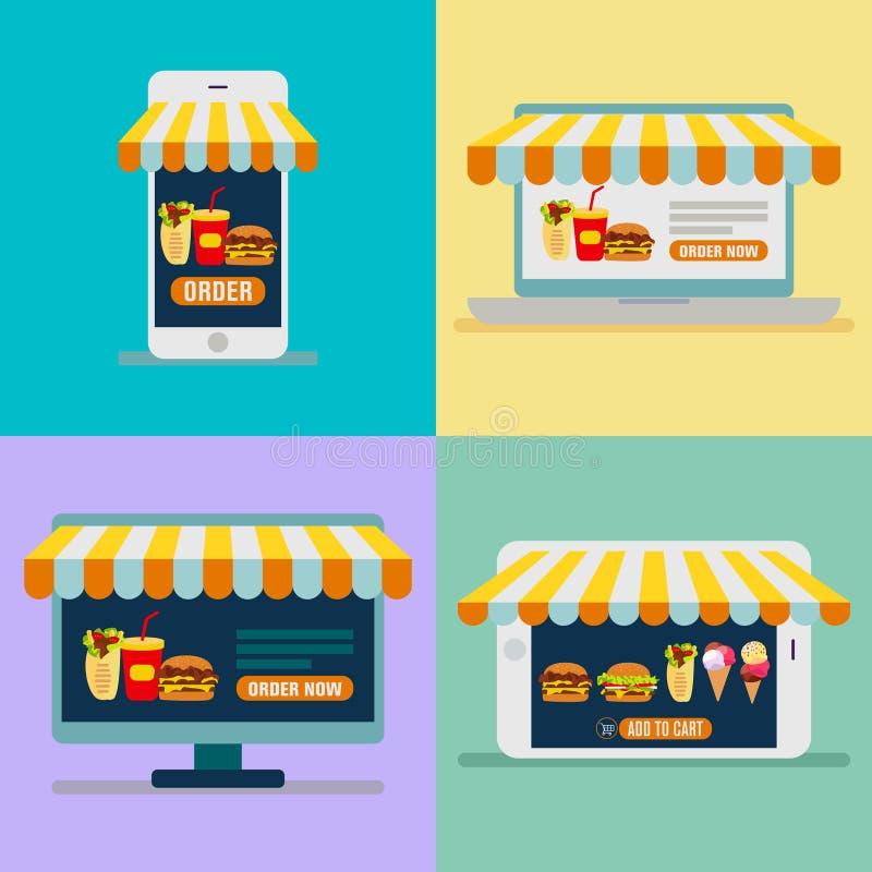 Het opdracht geven van voedsel tot online vector Online het winkelen banner vastgesteld vectorbeeld stock illustratie