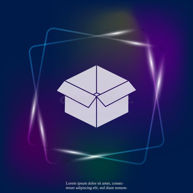 Het open beeld van het doos vectorneonlicht Teken van pakket en goederen leg royalty-vrije illustratie