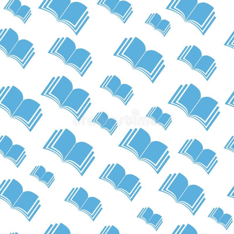 Het open blauwe patroon van de boekvlieg stock illustratie