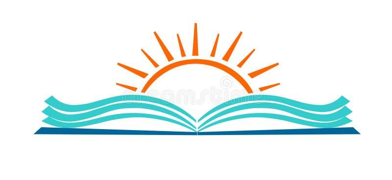 Het open boek en zonpictogram van het onderwijsembleem vector illustratie
