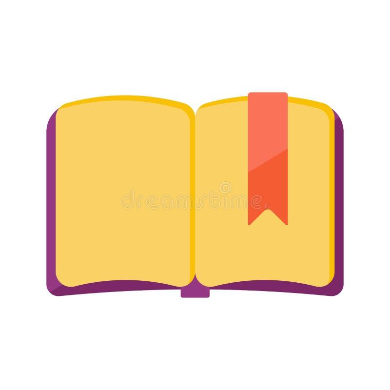 Het open boek met boekelegger stock illustratie