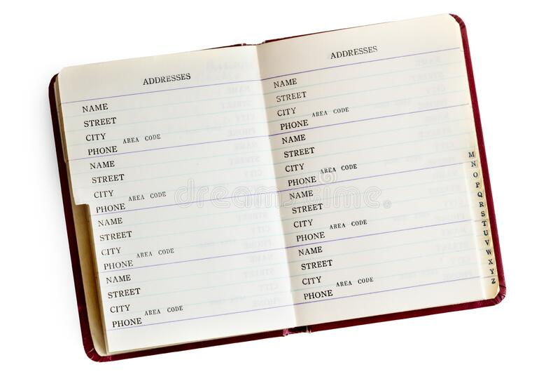 Het Open Boek van het adres Geïsoleerd op Wit royalty-vrije stock foto's