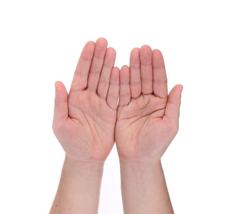 Het open gebaar van palmhanden van mannelijke hand stock afbeeldingen