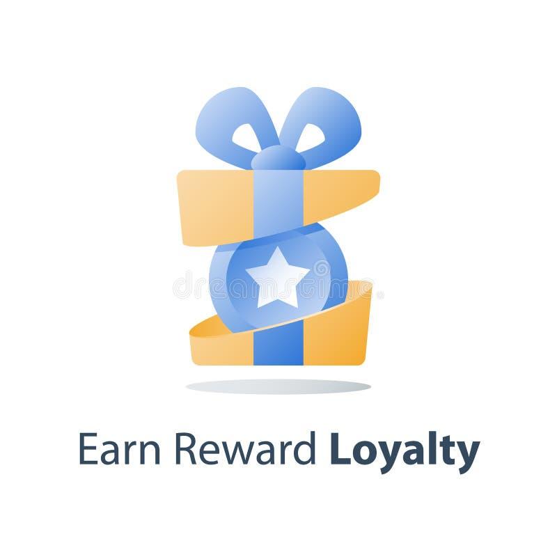 Het open huidige vakje, gele beloningsgift, loyaliteitsprogramma, verdient punten, verzamelt bonus, terugkoopt speciale prijs vector illustratie