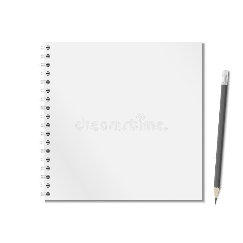 Het open lege realistische blocnotenotitieboekje met spiraalvormig en zwart potlood is op witte achtergrond vector illustratie