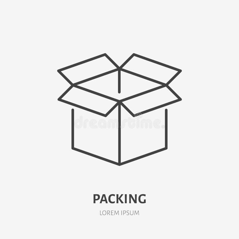 Het open pictogram van de doos vlakke lijn Levering, verpakkingsteken Dun lineair embleem voor de vrachtdiensten, vervoer over ze stock illustratie