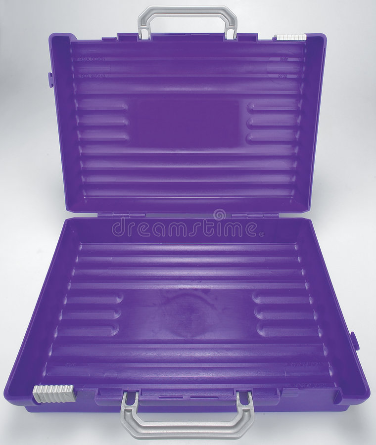 Het open Purpere plastic geval van de School royalty-vrije stock foto
