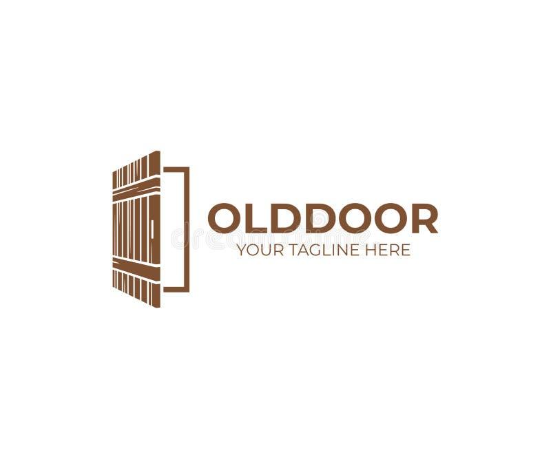 Het open rustieke malplaatje van het deurembleem Het vectorontwerp van de huisdeur stock illustratie