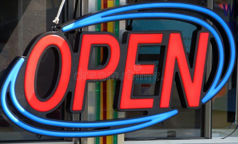 Het open teken van het neon stock fotografie