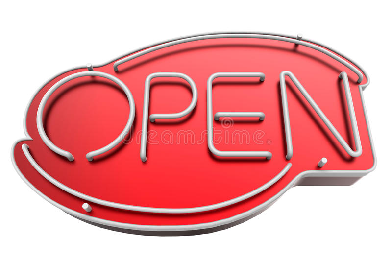 Het open teken van het neon vector illustratie