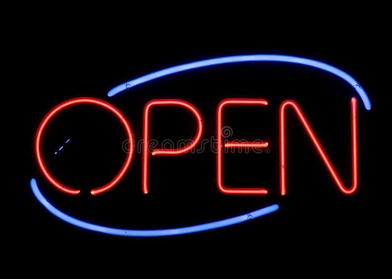 Het open Teken van het Neon royalty-vrije stock afbeeldingen