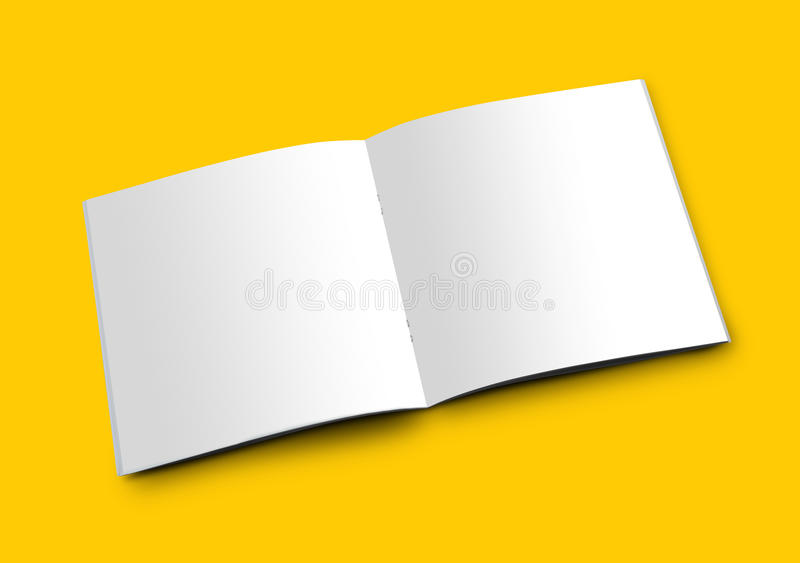 Het open Witte Lege Boekje van het Brochuretijdschrift voor Model royalty-vrije stock afbeelding