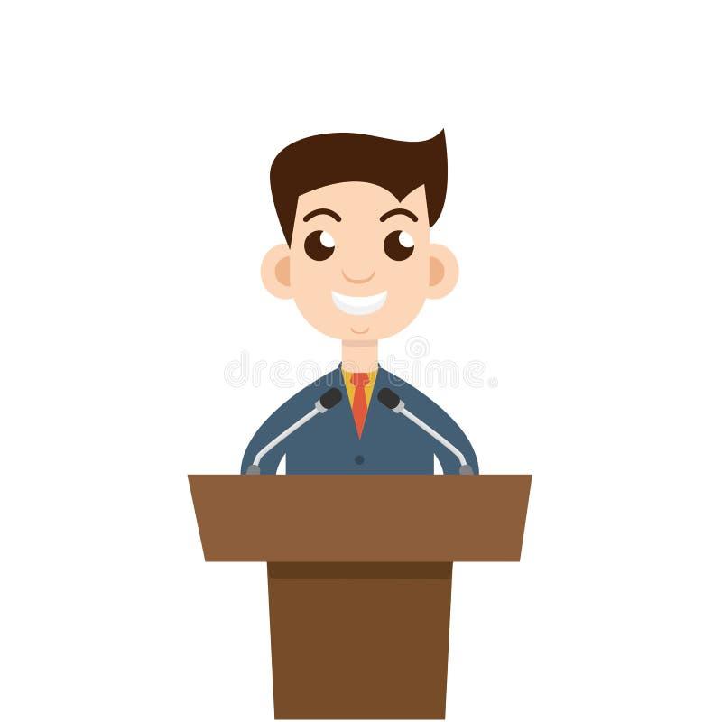 Het openbare spreken, vlak ontwerp woordvoerder het spreken Vector illustratie vector illustratie