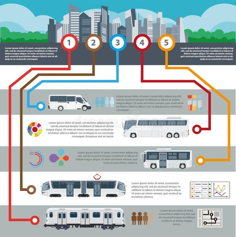 Het openbare van de passagiersinfographics van het stadsvervoer vector vlakke malplaatje royalty-vrije illustratie