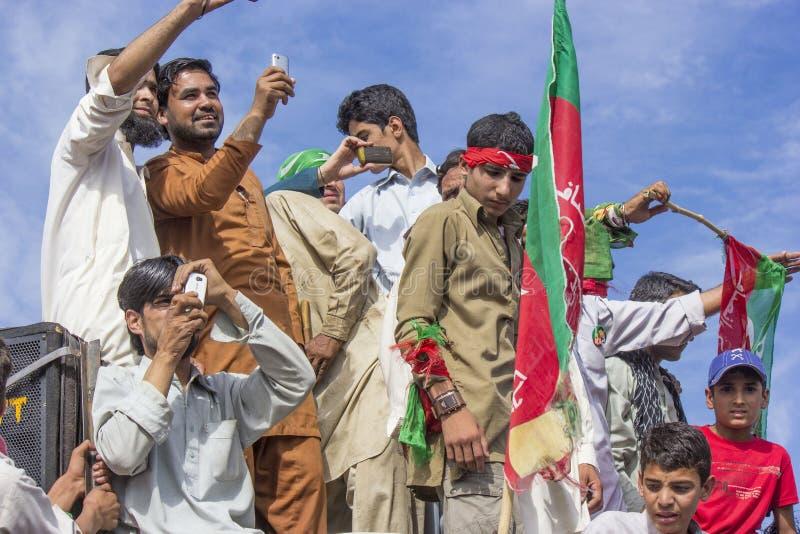 Het openbare verzamelen zich van een politieke partij in Pakistan royalty-vrije stock foto