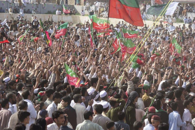 Het openbare verzamelen zich van een politieke partij in Pakistan stock afbeeldingen
