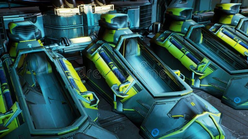 Het openen van de cryocapsules op een ruimteschip het 3d teruggeven stock illustratie