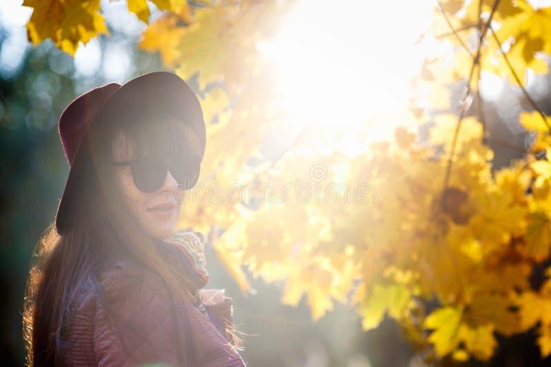 Het openlucht dichte omhooggaande model mooie donkerbruine meisje van de portret grote grootte met hoed en sunglass het bekijken  royalty-vrije stock afbeelding