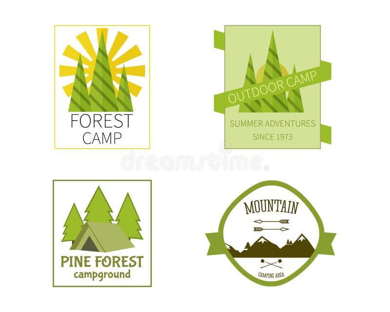 Het openluchtontwerp van Logo Vintage Labels van de Activiteitenreis vector illustratie