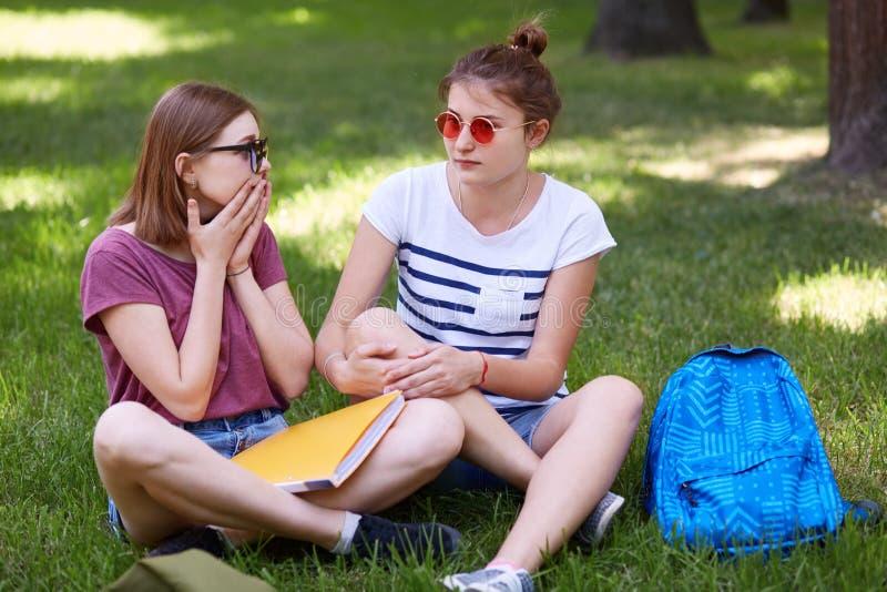 Het openluchtschot van bedwelmd leuk wijfje brengt vrije tijd met haar beste vrienden door, reageert op plotseling nieuws, voorbe royalty-vrije stock foto's