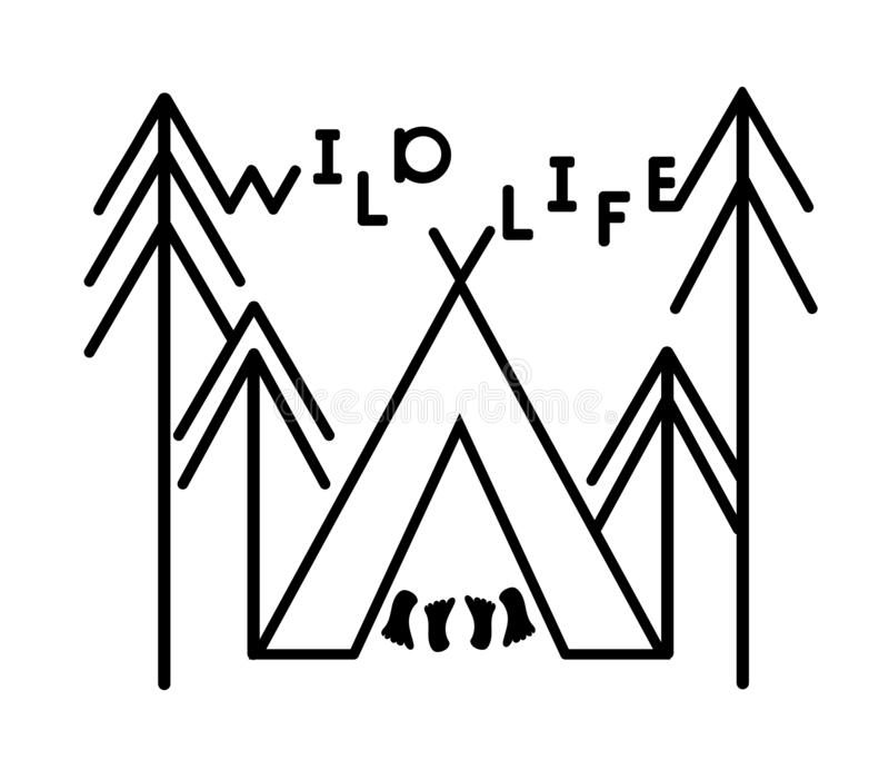 Het openluchtsticker wilde leven en tent, bomensparren Kentekensemblemen en ontwerpelementen voor t-shirt, affiches, drukken Vect royalty-vrije illustratie