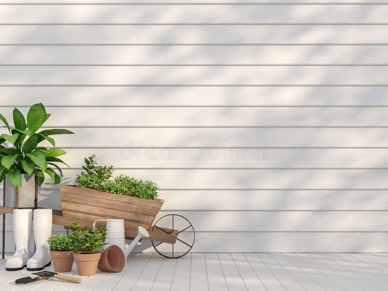 Het openluchtterras met 3d tuinmateriaal geeft terug vector illustratie