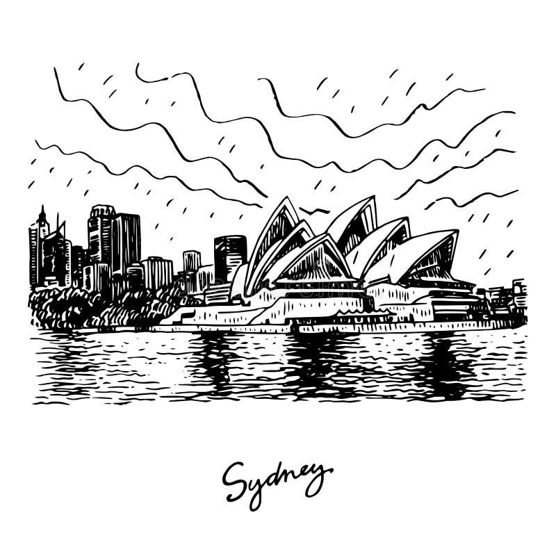 Het Opera House van Sydney Sydney, Australië Vectorillustratie royalty-vrije illustratie