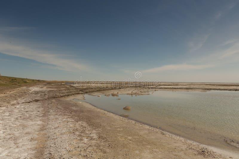 Het opgedroogde Aral overzees in de zomer, de watercrisis op de planeet en het concept klimaatverandering royalty-vrije stock fotografie