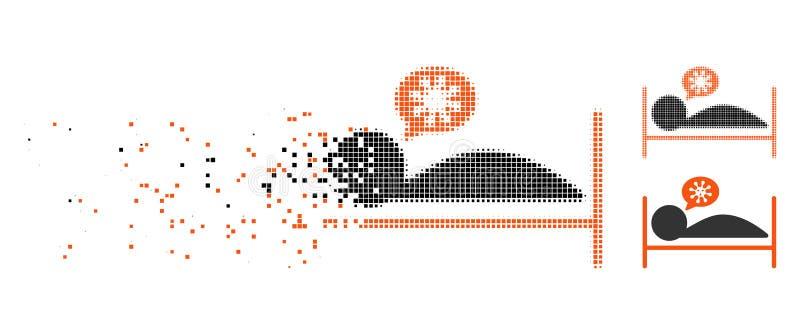 Het opgeloste Pictogram van het Pixel Halftone Geduldige Bed royalty-vrije illustratie