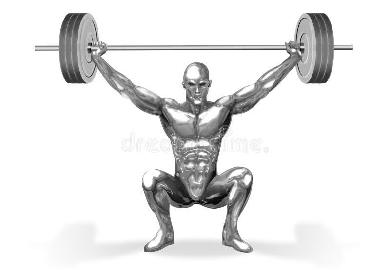 Het Opheffen van Chromeman_Weight stock illustratie