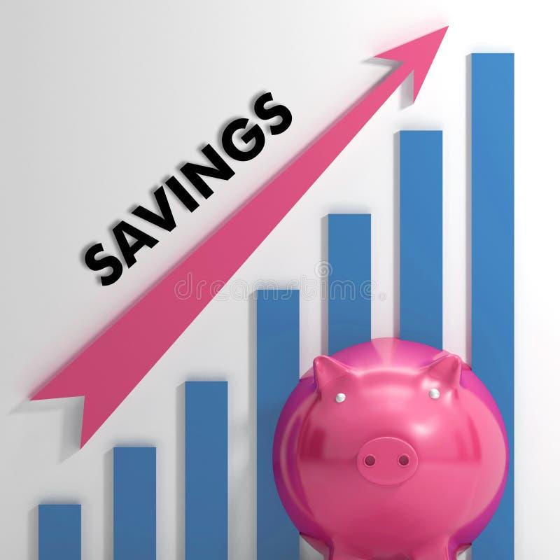 Het opheffen van de Grafiek van Besparingen toont Persoonlijke Vooruitgang vector illustratie