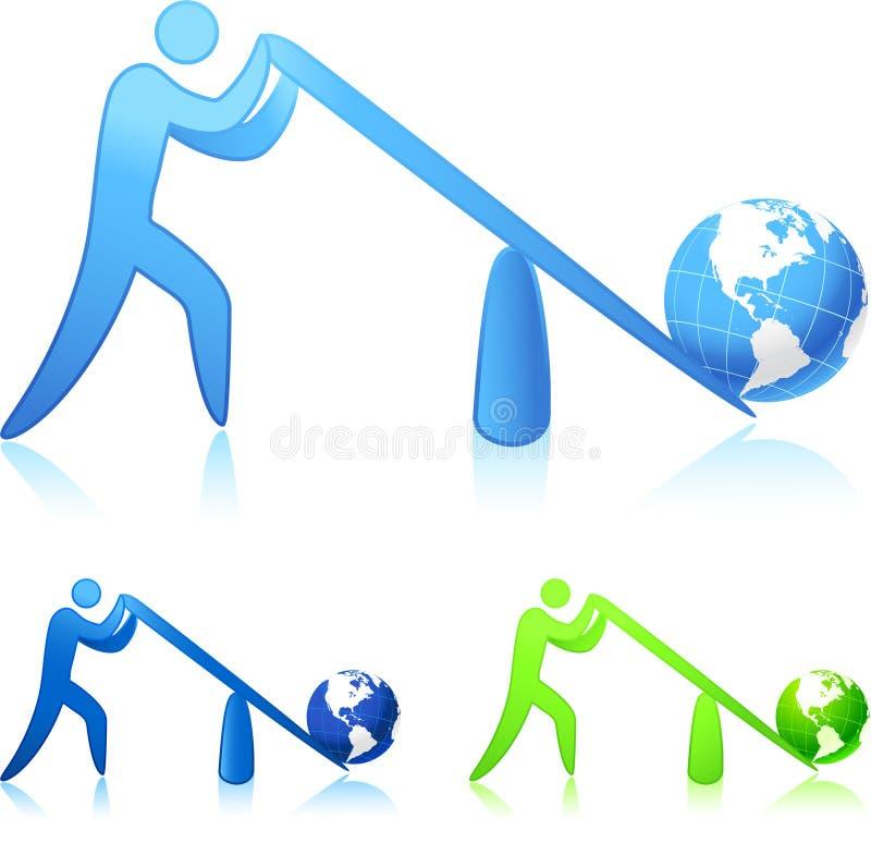 Het opheffen van de wereld (hefboomwerking) stock illustratie