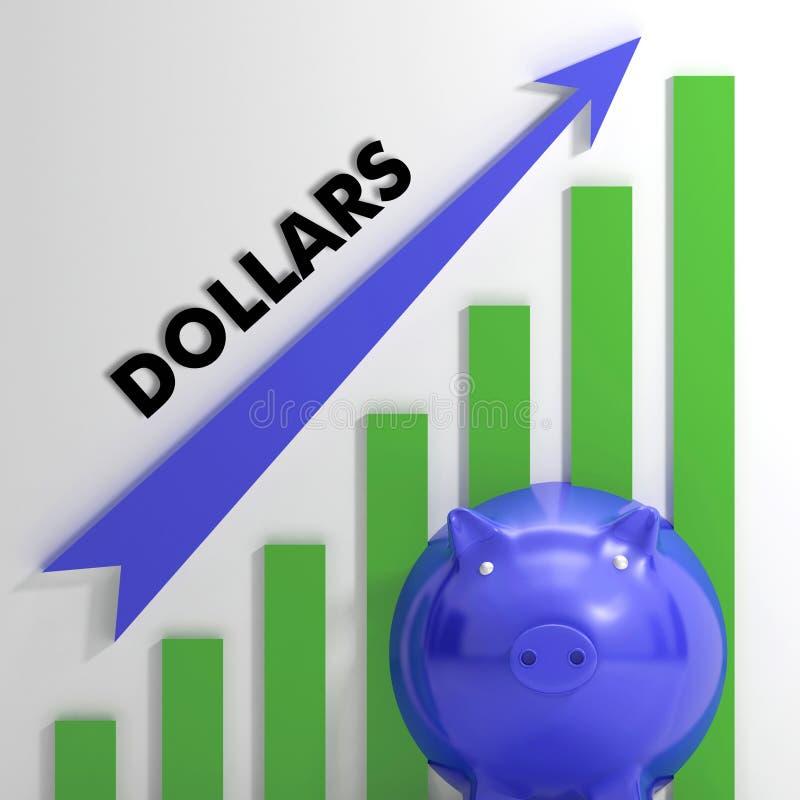 Het opheffen van dollars, usd Grafiek die de Amerikaanse Groei tonen royalty-vrije illustratie