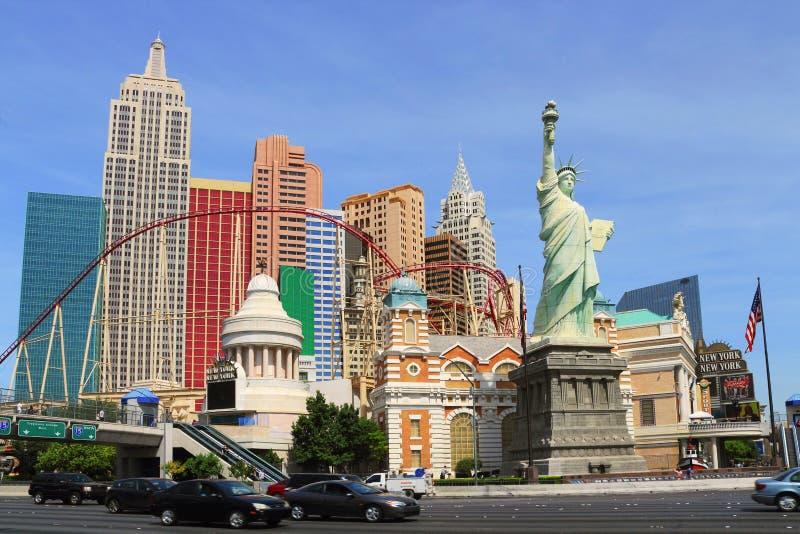 Het het het Opleggen New York New York Hotel en Casino in Las Vegas, Nevada stock foto's