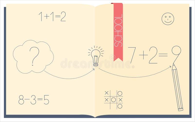 Het oplossen van een wiskundig voorbeeld vector illustratie