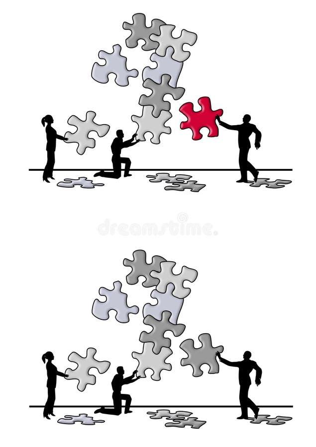 Het Oplossen van het Probleem van het Stuk van het Raadsel van het team vector illustratie