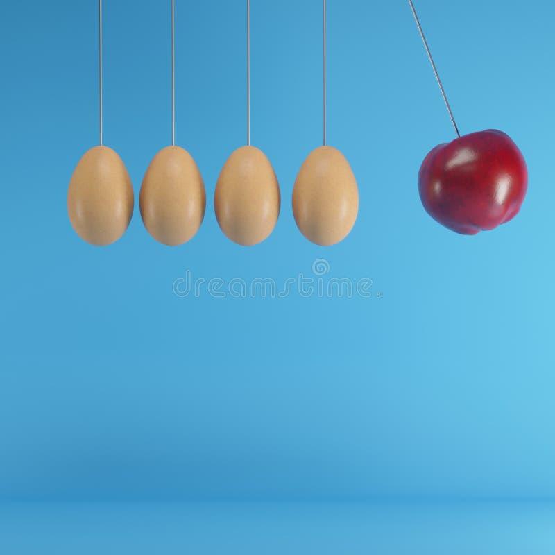 Het opmerkelijke rode appel hangen naast bruine eieren op blauwe achtergrond vector illustratie
