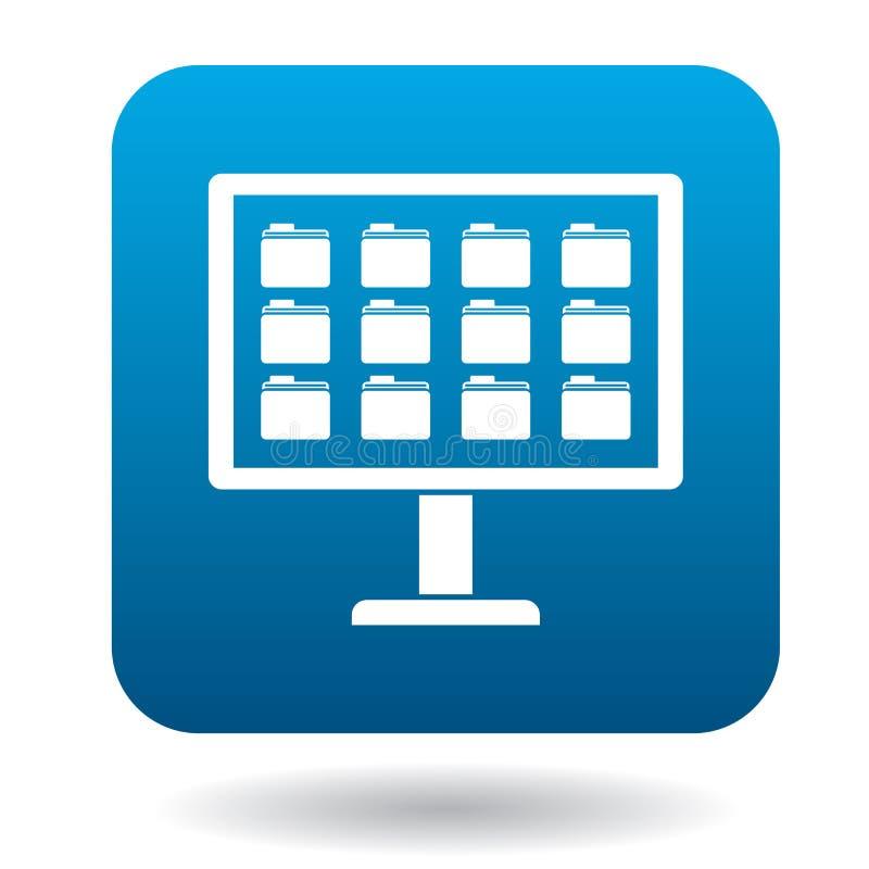 Het opslaan van dossiers in computerpictogram, eenvoudige stijl stock illustratie