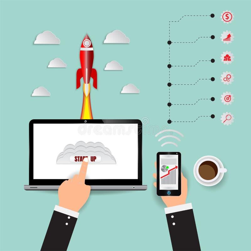Het Opstarten van de raketlancering, Marketing digitale Infographics en technologie voor bedrijfsconcept, vectorillustratie royalty-vrije illustratie