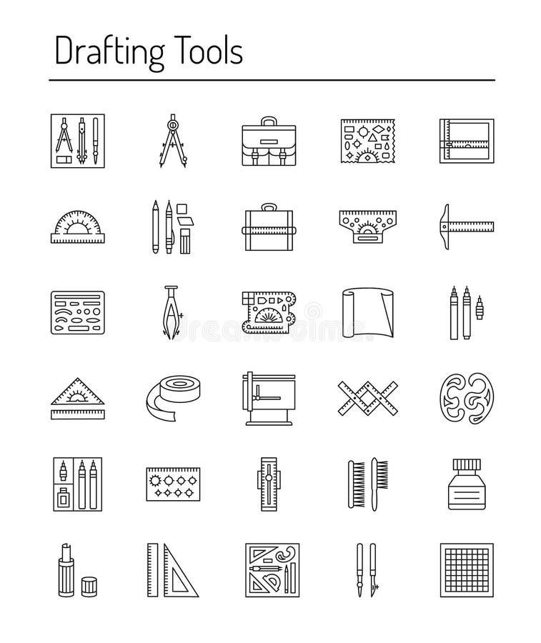 Het opstellen van de inzameling van het hulpmiddelenpictogram Toestel, schakelnet, potlood en ontwerp Lijnpictogrammen vector illustratie