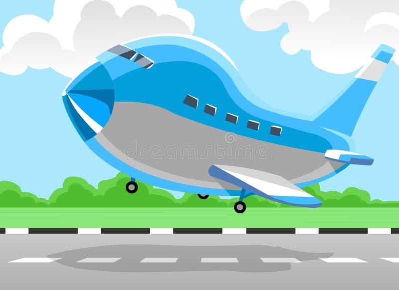 Het opstijgen van het vliegtuig royalty-vrije illustratie