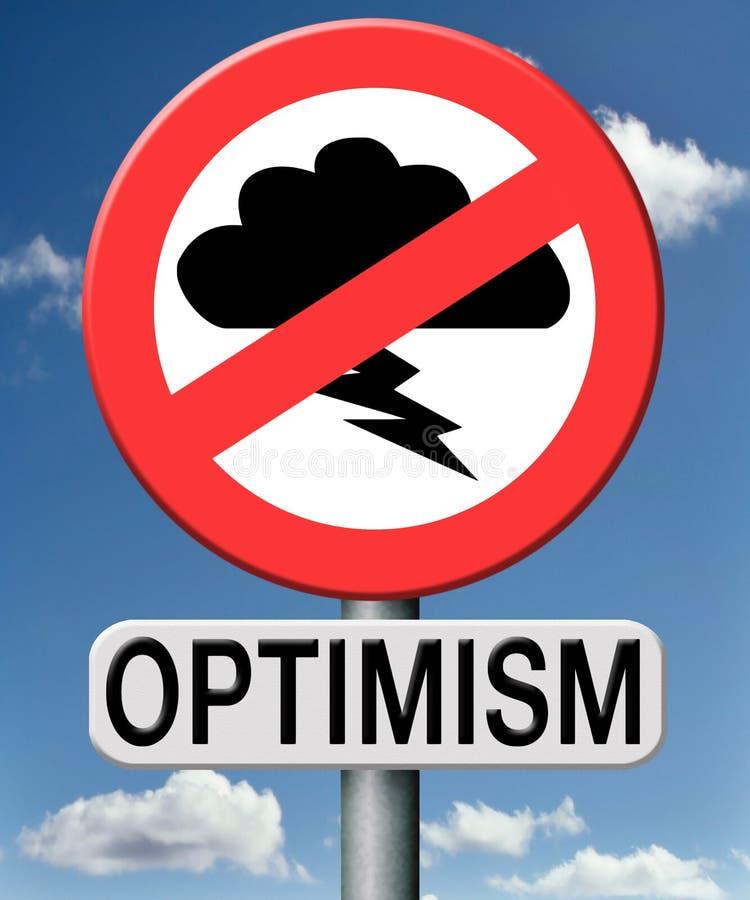 Het optimisme denkt positief en optimistisch stock illustratie