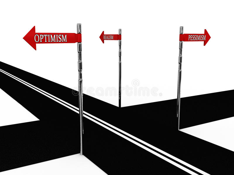 Het optimisme van de wijzer, pessimisme, realisme stock illustratie