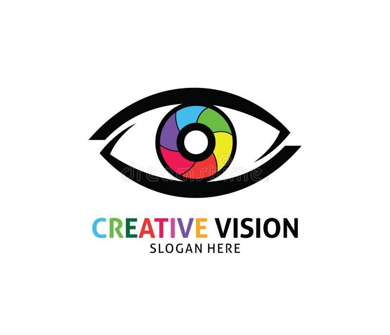 Het optische ontwerp van het de visie vectorembleem van het technologieoog toekomstige