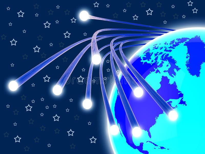 Het optische Vezelnetwerk betekent World Wide Web en Mededeling royalty-vrije illustratie