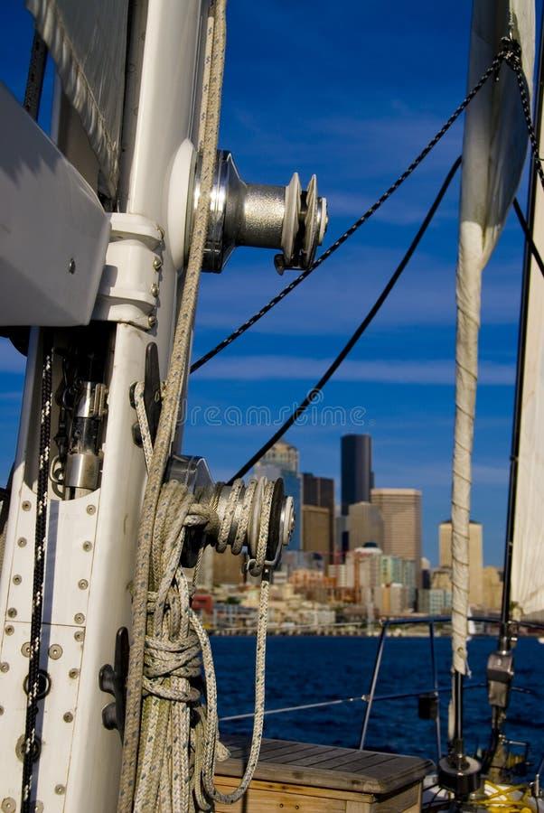 Het Optuigen van de zeilboot royalty-vrije stock fotografie